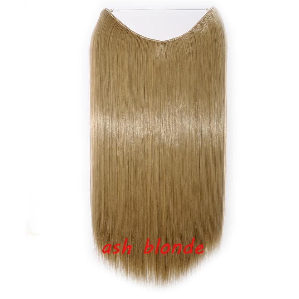 S-noilite 20 дюймов невидимый провод без заколки для волос Расширения секретная Рыбная линия шиньоны шелковистые прямые настоящие натуральные синтетические - Цвет: 24