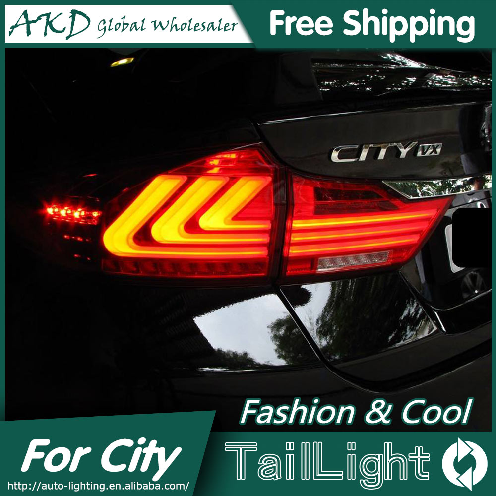AKD Car Styling for City Tail Lights 2014-2015 New City LED Tail Light LED Rear Lamp LED DRL+Brake+Park+Signal