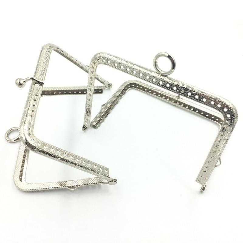1Pc Silver Tone Metalwork Handbag Mini Purse Handle Metal Frame Rectangle Pattern Flower Delicate Lock Luggage Accessories 115MM