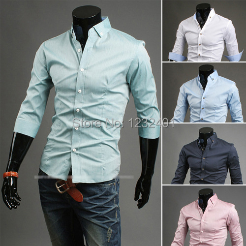 AliExpress foreign trade explosion models in Europe and America 2014 summer new men's cotton dress shirt sleeve fifth simplicit
