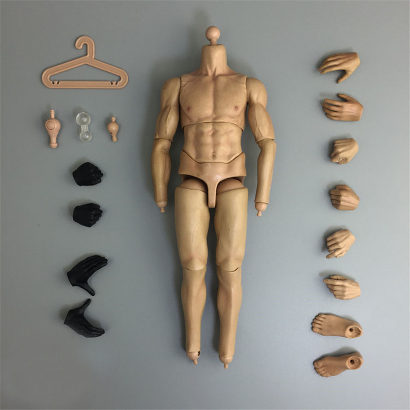 Mnotht 16 Scale Male Solider Model Action Figure Body Man Strong Body Yellow skinBlack Skin Body For 12in Action Figures L30