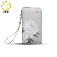 2019 Pmsix Floral Printing Chinese Style Cattle Split Leather Wallet Long Zip Wristlet Bag Brand Design Casual Purse 420042