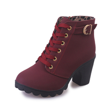 COZULMA Women Sewing Lace-up Ankle Boots Shoes Lady High Heel Boots Round Toe Bootie 4 Color Size 35-41 цена 2017