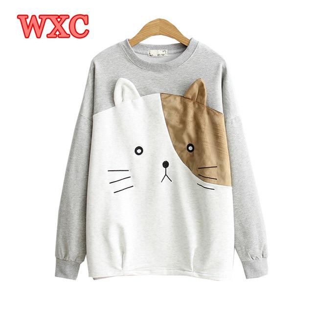 d08052e67f0fb Harajuku Japanese Style Hoodies Kawaii Big Cat Face Cartoon Women Pullover  Lovely Mori Girls Sweatshirts Female
