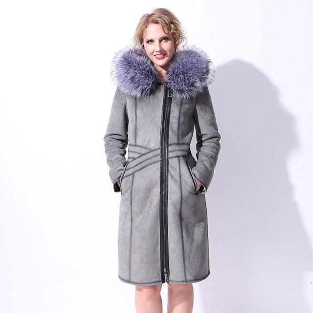 17 Factory direct supply winter women faux sheepskin suede fur fashion coat Slim long gray new Artificial silver fox fur Collar