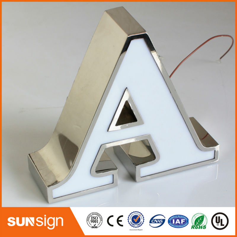 9'' Acrylic Surface Mirror Polished Stainless Steel Led Sign Letters