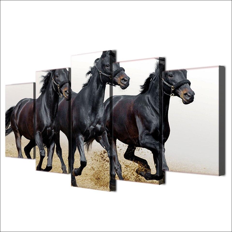 5 unidades lona caballos Correr pintura enmarcada arte de la pared ...