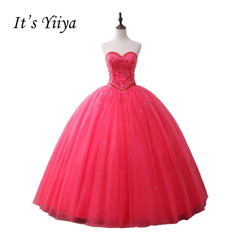 É Yiiya Rose Red Querida Strapless Cor Do Vestido de Casamento Beading vestido de Baile Vestido de Noiva Vestidos De Novia Casamento AB010