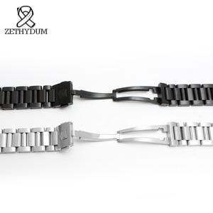 Image 4 - Bracelet de montre en acier inoxydable solide 22mm hommes montres marque supérieure de luxe argent bracelet noir remplacement en acier bracelets de montre en argent