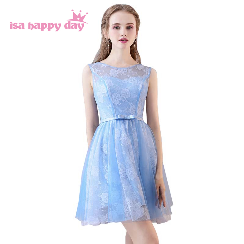 short light blue tulle bridesmaid modest formal special occasion dresses for juniors knee length dress bridemaid 4 style H4156
