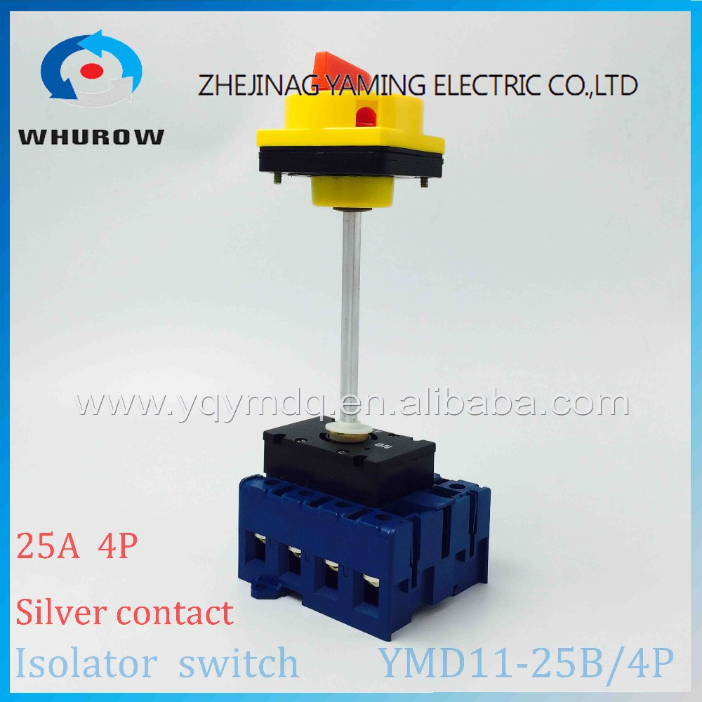 Isolator switch YMD11-25B 4P 690V with padlock aluminum pole 25A Load break power cut off operation outside electrical cabinet proximity switch vario load switch isolating switch operation panel kcf2pzc