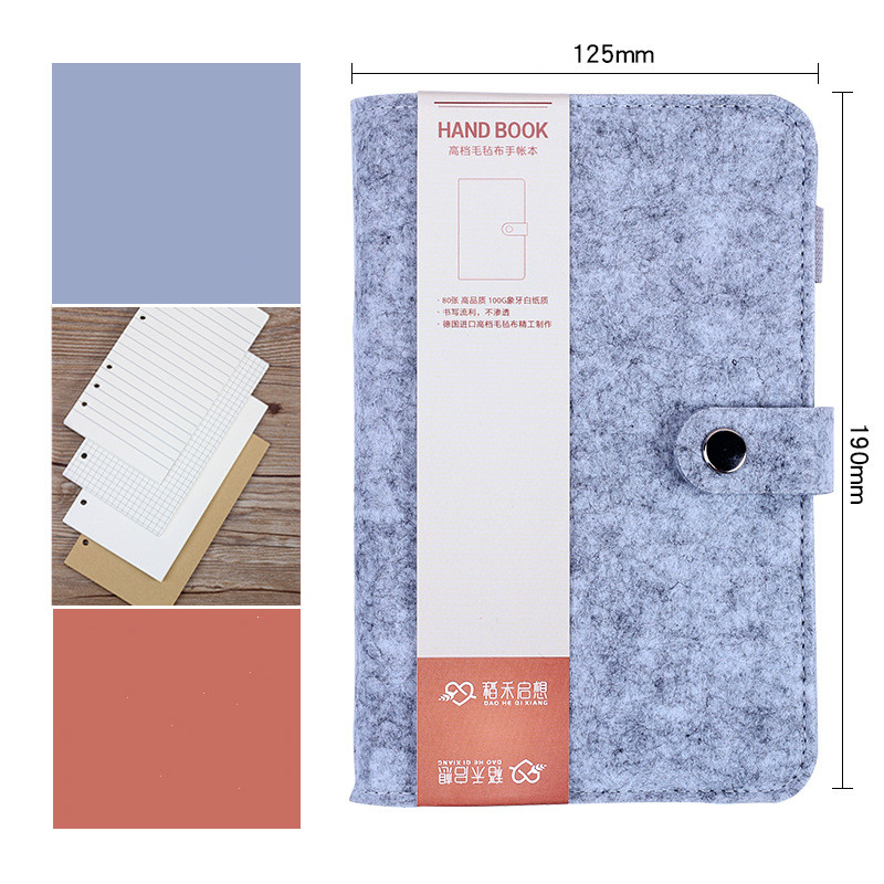 New Snap Felt Fabric Notebook and Journal Spiral Ring Binder Replaceable Notebook Agenda 2018 Planner Filofax Libreta A6 HJW055