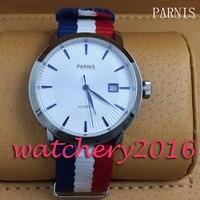 Klassische Parnis 41mm weiß zifferblatt blau marks datum fenster miyota 8215 Automatische bewegung herren Uhr-in Mechanische Uhren aus Uhren bei