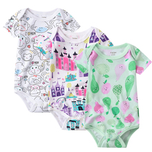 цены newborn bodysuit baby babies bebes clothes short sleeve cotton printing infant clothing 1pcs 0-24 Months 3 piece/lot