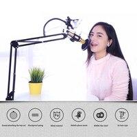 360 degrés rotation Microphone Métal Suspension Boom Arm Support Montage pour radio Diffusion Studio Mic Stand Titulaire pour Le Chant