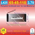 [L425] 3.7V,4800mAH,[6545110] Polymer lithium ion / Li-ion battery for POWER BANK,tablet pc,E-BOOK;
