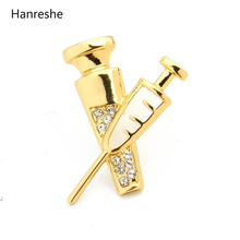 Купить с кэшбэком HANRESHE Gold Silver Colors Syringe Pin Brooches Medical Jewellery for Doctor/Nurse Student Fashion Crystals Brooches for Women