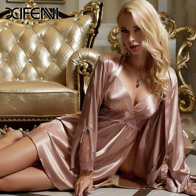 696d8479b558 XIFENNI Spring Stain Silk Womens Pajamas PJS Femme Pyjamas Lace Robe Sexy  Sleepwear Bathrobe M-3XL