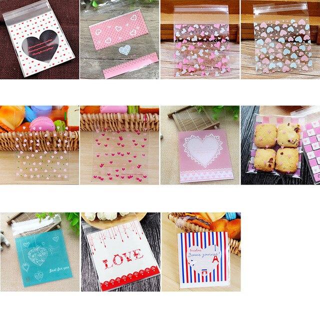 50/100 p 10x10 cm amor lindo plástico transparente celofán caramelo galleta bolsa de regalo para bocadillos de galletas paquete para hornear suministros para fiestas 8