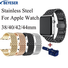 Luxury adjustable Stainless Steel link band for apple watch Series 4 3 1 2 band For watch 42mm 38mm 40mm 44mm Metal strap Bands hoco 42mm watchband steel stainless metal strap classic buckle adapter watch bands for apple watch