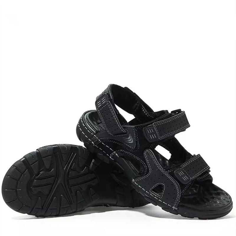 CcharmiX Genuine Leather Summer Mens Sandals Hoop Loop Massage Beach Men s  Sandals Outdoor Men Sandles Man Footwear Black Brown-in Men s Sandals from  Shoes ... a157660fa603