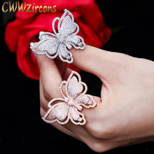 CWWZircons Luxury Brand Micro Pave Cubic Zirconia Lovely Butterfly Shape Big Rose Gold Color Wedding Ring Jewelry for Women R042