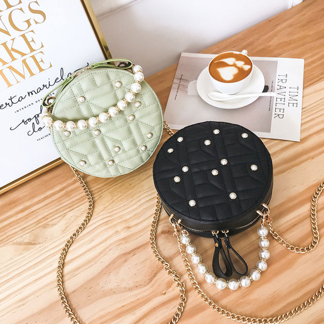 Round Chains Women Shoulder Bags for Women Pearls Bags Brands Circle  Handbags Lady PU Messenger Crossbody