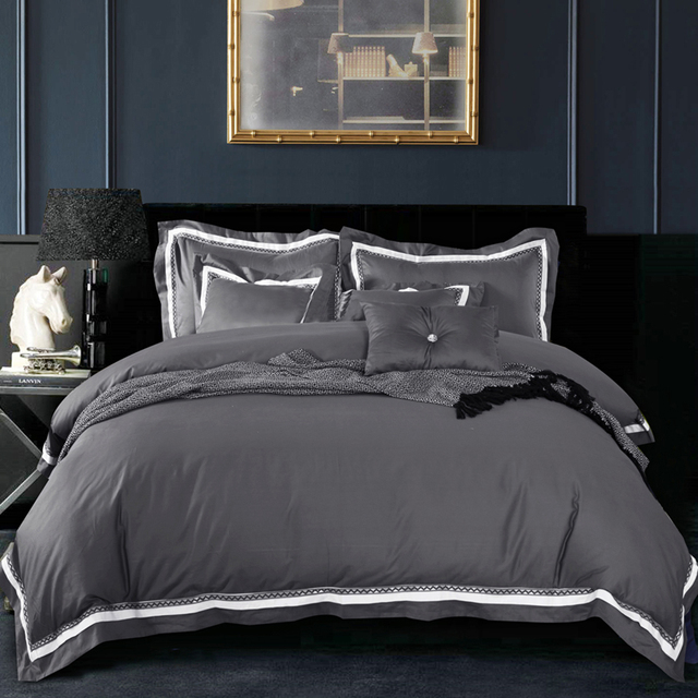 4pc 100 Cotton Luxury Satin Fabric Solid Color Dark Grey Duvet Cover Set King Size