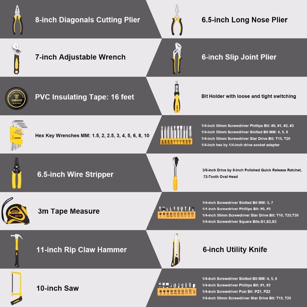 DEKO набор ручных инструментов для домашнего ремонта, набор ручных инструментов с пластиковым ящиком для инструментов, чехол для хранения плоскогубцев, торцевой ключ, пила, отвертка, нож