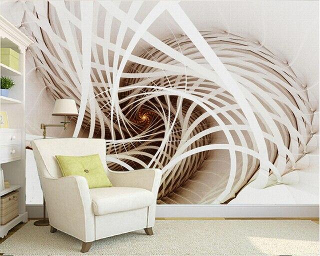 Kundenspezifische Große Wandbilder, Weiße Abstrakte Malerei Tapeten, 3d  Stereoskopischen Für Wohnzimmer Schlafzimmer TV Hintergrund