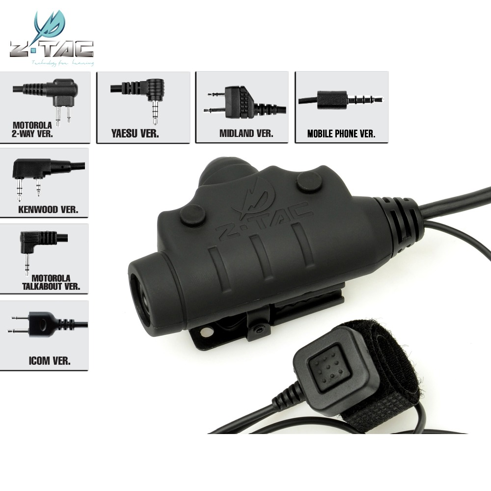 Z-Tactical Z115 U94 PTT New Version Tactical Headset Accessory Airsoft Military Hunting Push To Talk Headphone Adapter