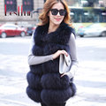 Winter Lady Natural Raccoon Fur Vest Women Real Genuine Fur Leather Jacket Long Overcoat Girl's Sleeveless Fox Fur Vests Coat