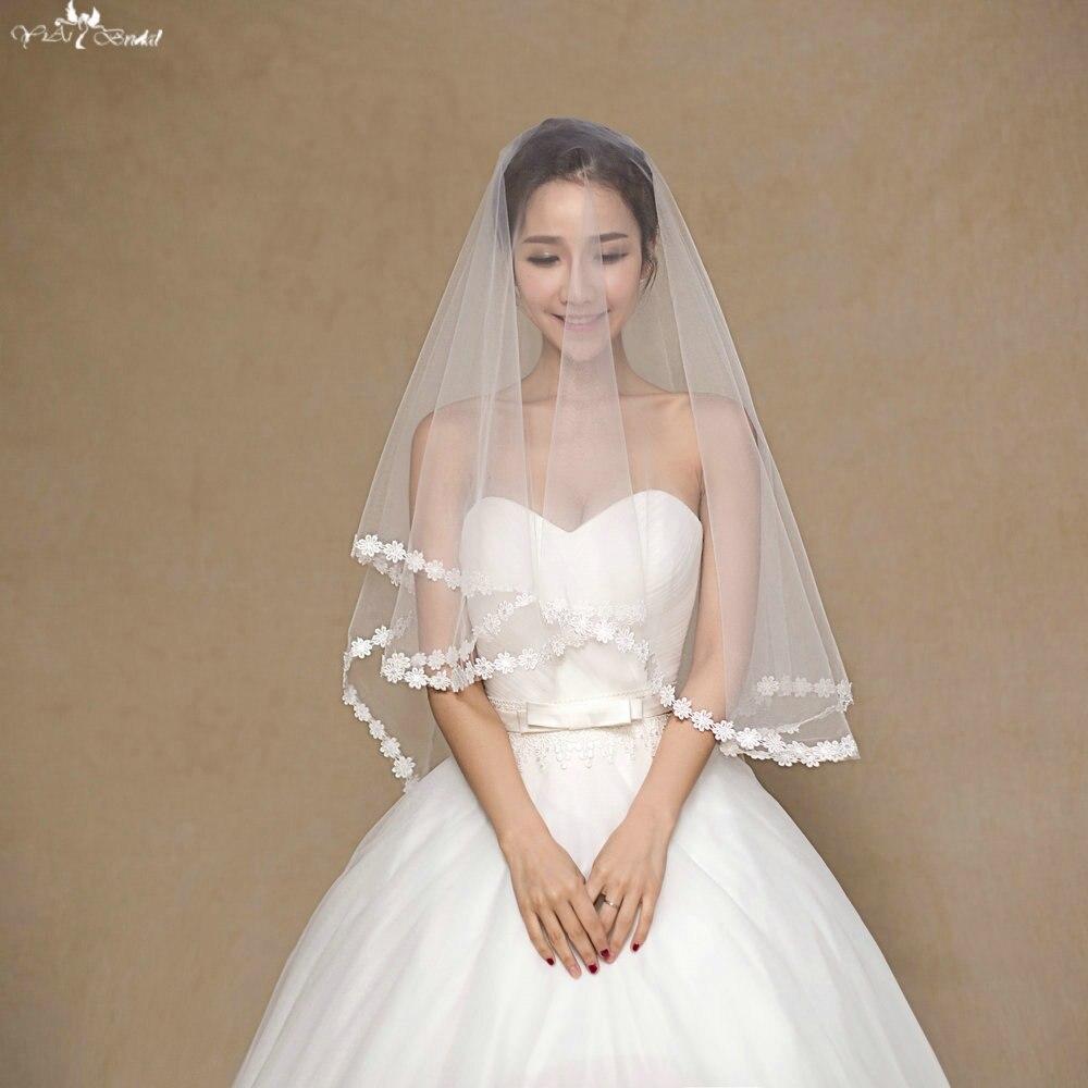 100% Waar Ta046 Een Layer Eenvoudige Bruiloft Sluier Korte Applique