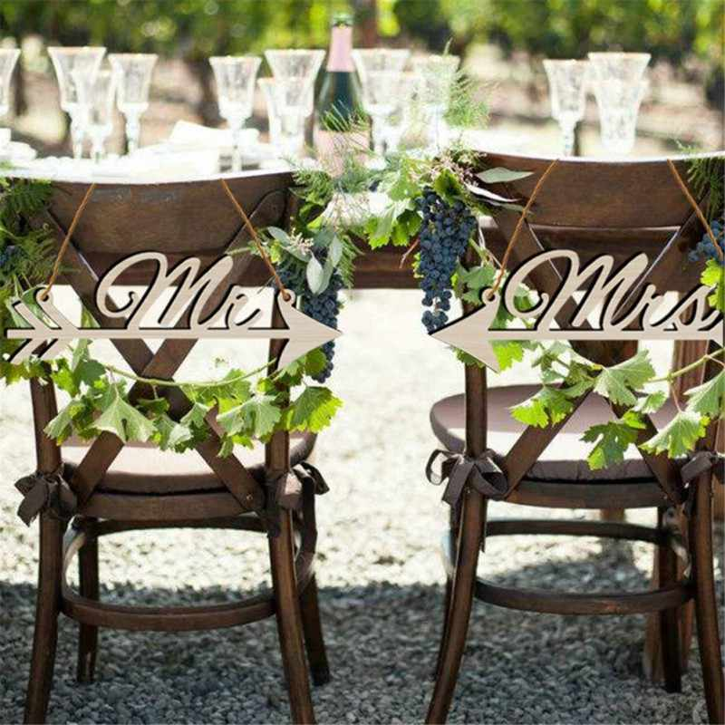 Wedding Decor 1Pair Mr & Mrs Arrow Signs Wedding Party Chair Decoration Photography Prop Rustic Wood Wedding Sign