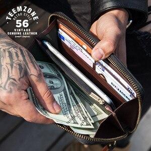 Image 3 - Moda wysoka marka jakości zielony moro prawdziwej skóry długi portfel męski z paskiem na nadgarstek męska kopertówka funkcja portfele 50