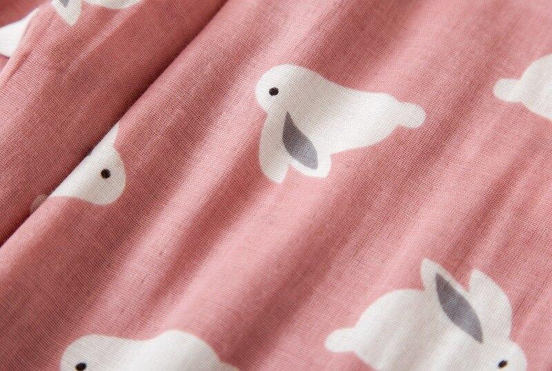 Image 5 - Female cute rabbit 100% cotton pajamas sets sexy gauze cotton pink plus size pyjamas women sleepwear sexi pijamas feminino-in Pajama Sets from Underwear & Sleepwears