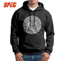 Thors Hammer Wikinger Viking Schwarz Valhalla Hoodies Man Awesome Hoodie Shirt Pure Cotton Gray Sweatshirt