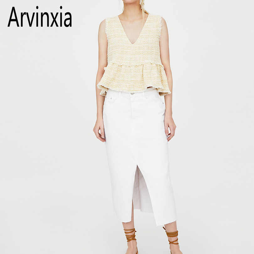 Arvinxia ZA Comfortable Sleeveless Button Decorative Woman Blouse Sexy Tassel Deep V Neck Women Shirts Ruffles Solid Lady Blusas