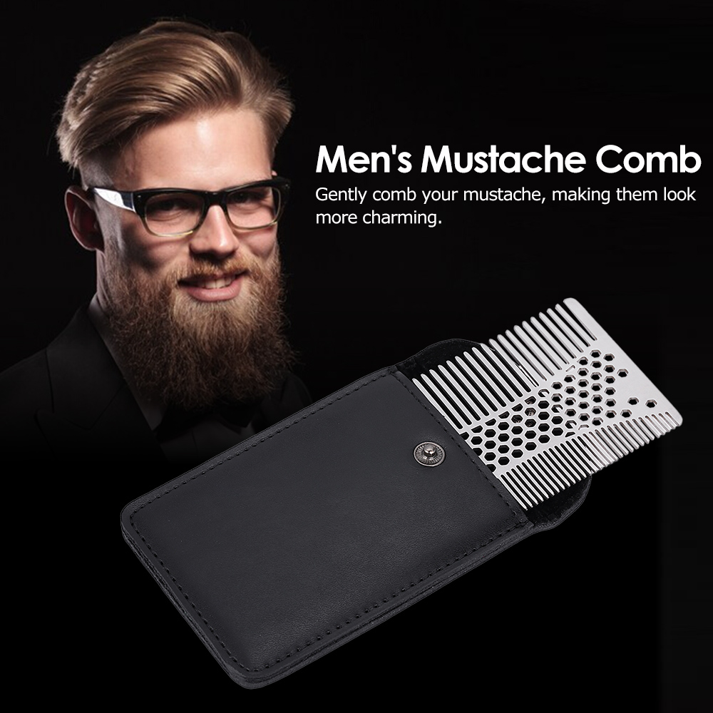 Men's Mustache Comb Stainless Steel Beard Comb Male Beard Shaving Brush Men Mini Mustache Pocket CombS Facial Hair Brush 5