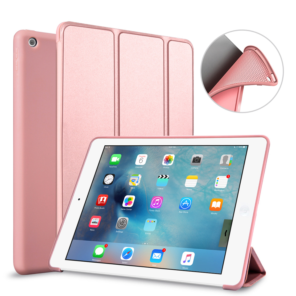 Case For iPad 6 Case Silicone Soft Back Folio Stand with Auto Sleep/Wake PU Leather Smart Cover For iPad Air 2 / Air2 Shell usams ipa2kx01 protective pu pc case w stand auto sleep for ipad air 2 black