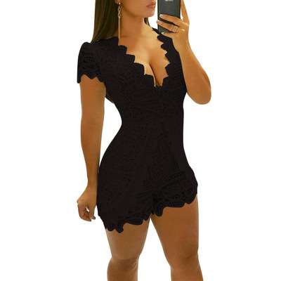 Fashion Lace Short Jumpsuits For Women Summer Sexy V-neck Short Sleeve Bodysuit Party Elegant Overalls Macacao Feminino 4 Color