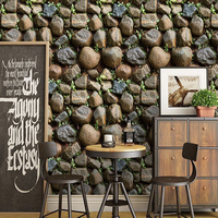 PVC Wallpaper 3D Stone Wall Covering Restaurant Cafe Living Room Home Decor Creative Self Adhesive Waterproof Wall Stickers Roll