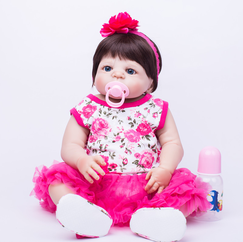 Full Body Silicone Reborn Baby Doll Toys Lifelike 55cm Newborn Girl