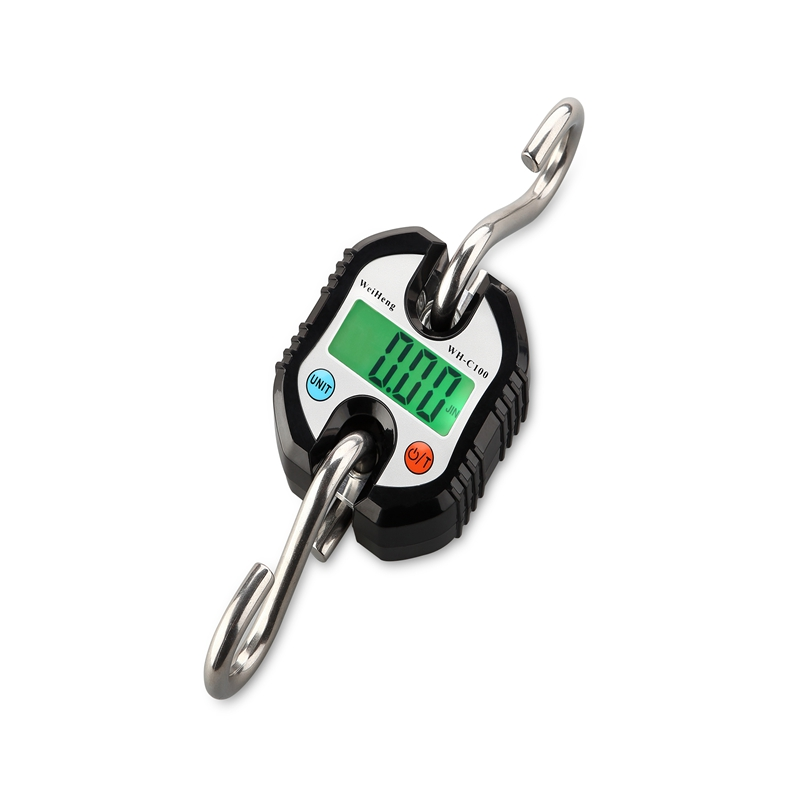 150kg/50g Mini Crane Scale Portable Digital Stainless Steel Hook Hanging Scales Loop Weighing Balance Green LCD Backlight