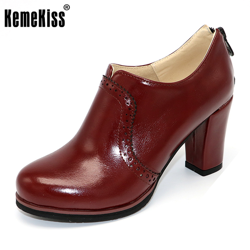 KemeKiss size 32-48 women high heel shoes ladies zipper brand round toe sweet pumps fashion quality footwear heels shoes P22939 kemekiss size 33 42 women s high heel wedge shoes women cross strap platform pumps round toe casual mixed color ladies footwear