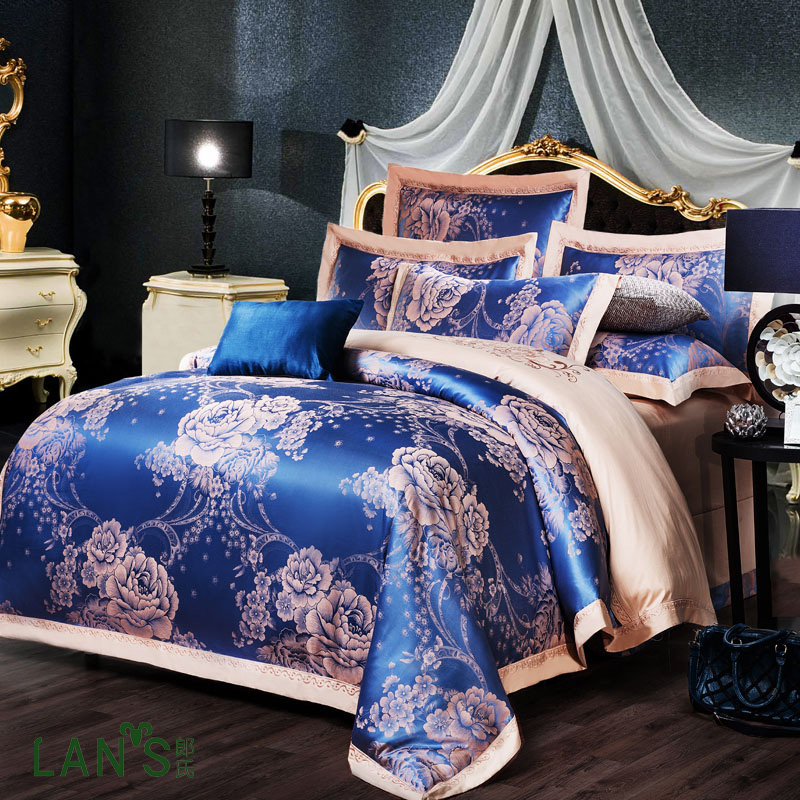 2016 Luxury Royal Blue Embroidery Jacquard Satin 4pcs