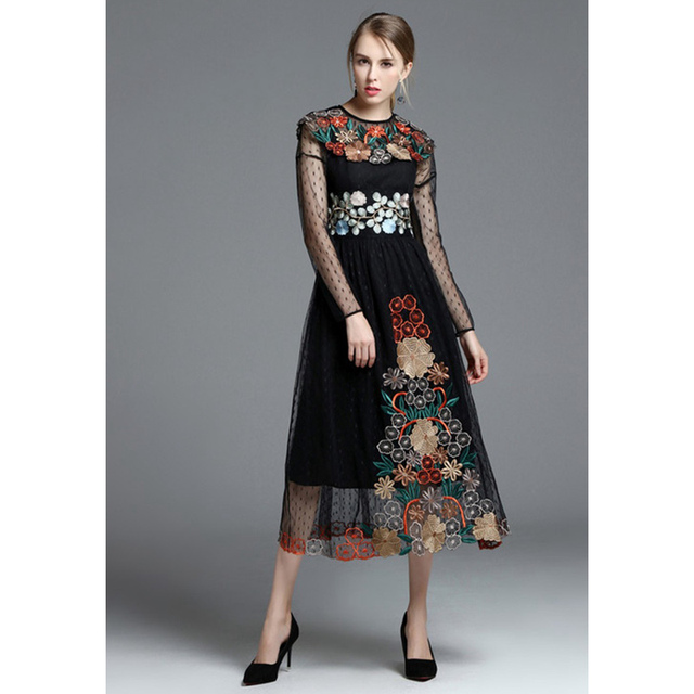 Long sleeve vintage style dress