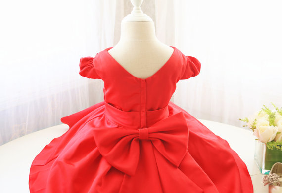 ФОТО Summer Red baby Flower Girl Dress V-Neck Infant Easter Dress with bow rufflesToddler Birthday Party Dress
