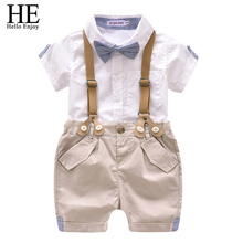 HE Hello Enjoy Kids Clothes boys Clothing Sets Bow Tie Gentleman Short Shirt+Straps Shorts Little Boy Summer Set Clothes