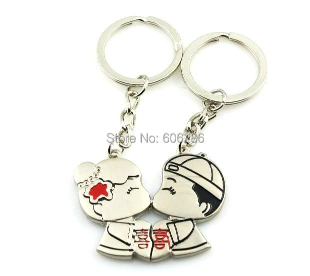 400 Pcs=200pairs/Lot Sweet Chinese Wedding Door Gifts of Traditional Bride & Groom Couple Keychain Zinc Alloy Key Chain Ring